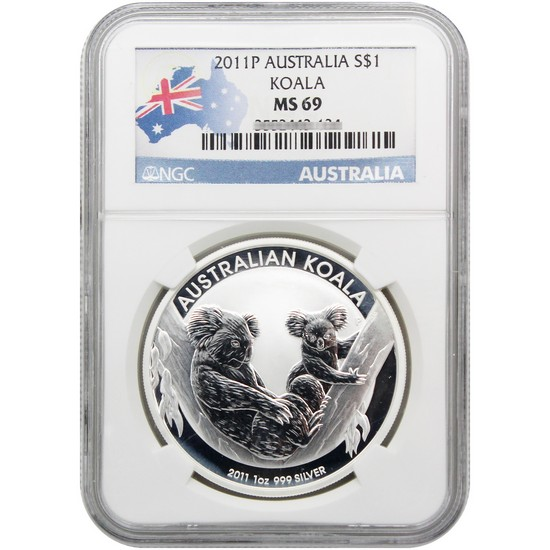 2011 P Australia Silver Koala 1oz MS69 NGC Country Label