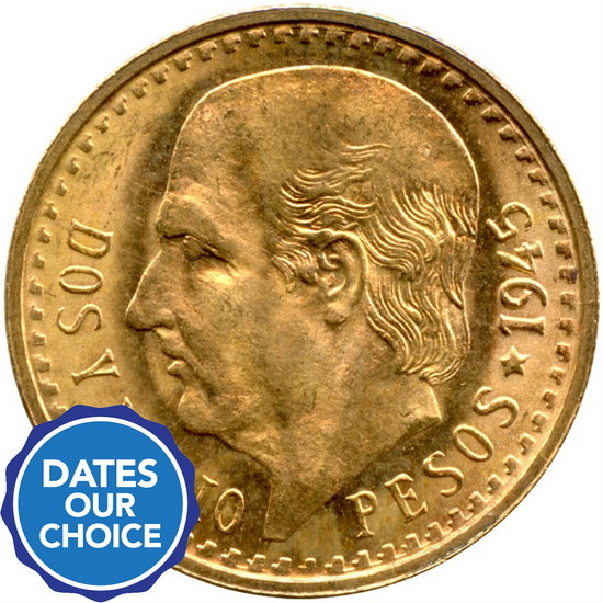 Mexico Gold Two and a Half Pesos Date Our Choice