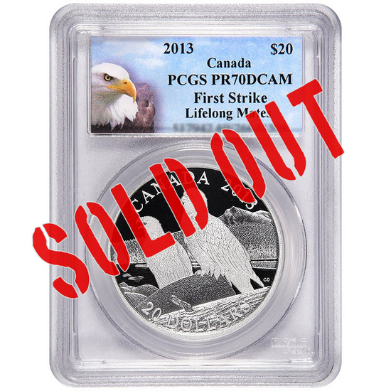 2013 Canada Silver Bald Eagle Lifelong Mates 1oz PR70 DCAM FS PCGS Bald Eagle Label