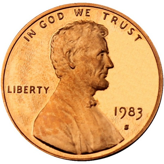 1983 S Lincoln Cent Memorial Reverse PF