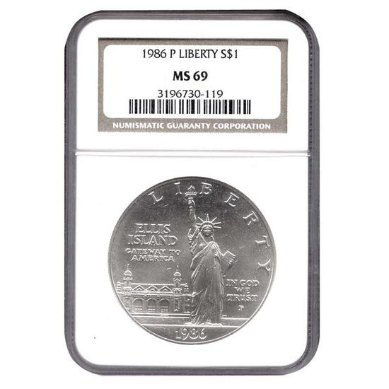 1986 P Statue of Liberty Silver Dollar MS69 NGC Brown Label