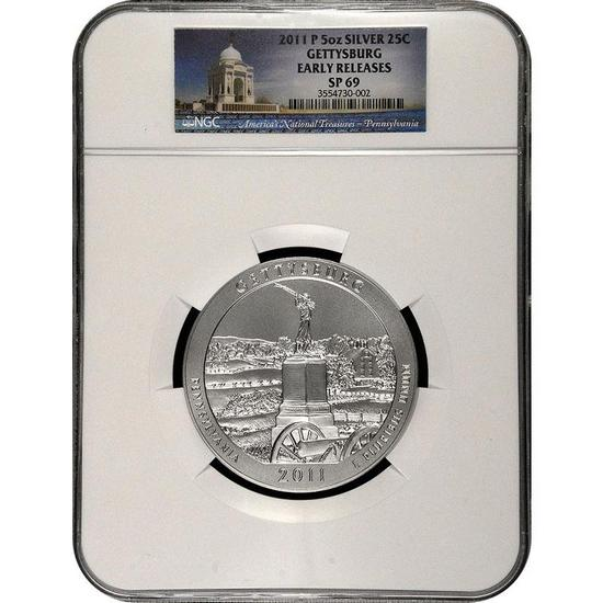 2011 P America The Beautiful Silver 5oz Gettysburg SP69 ER NGC