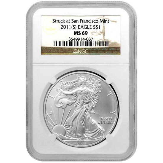 2011 S Silver American Eagle Struck at San Francisco Mint MS69 NGC