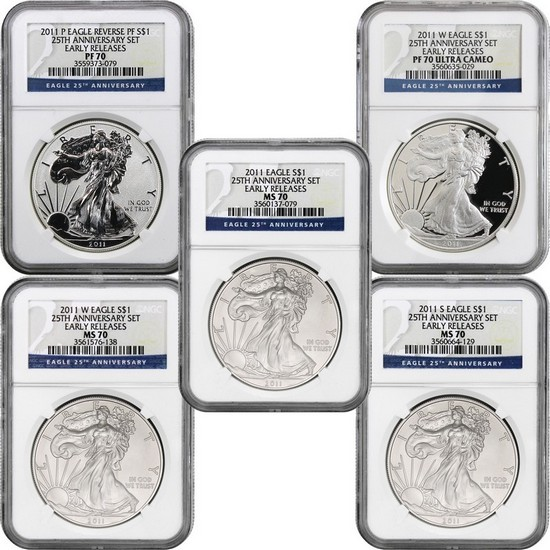 2011 25th Anniversary Silver American Eagle 5pc Set 70 ER NGC