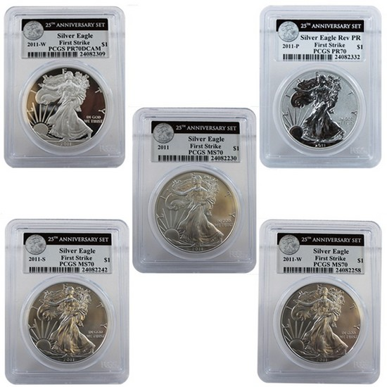 2011 25th Anniversary Silver American Eagle 5pc Set 70 FS PCGS