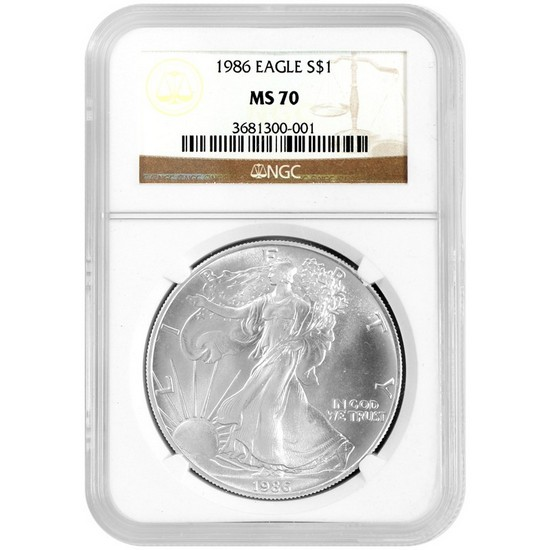 1986 Silver American Eagle MS70 NGC Brown Label