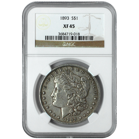 1893 Morgan Silver Dollar XF45 NGC Brown Label