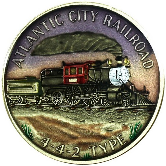 Train Atlantic City Railroad 442 Type Bronze Medallion Enameled