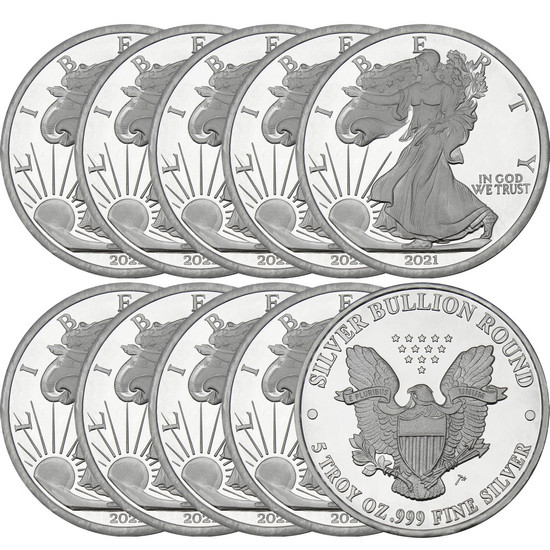 2017 Silver American Eagle Replica 5oz .999 Silver Medallion 10pc
