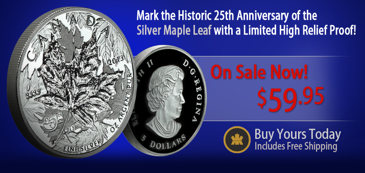 2013 Maple Leaf 25th Anniversary Piedfort Proof Sale