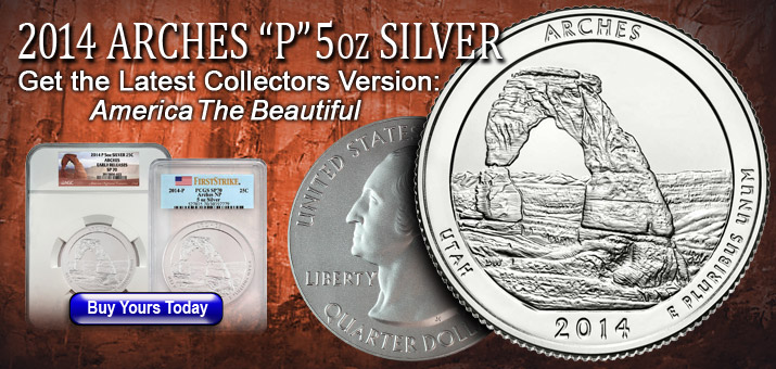 2014 P America The Beautiful 5oz Arches Coins