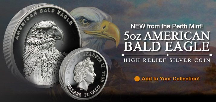 2014 P Tuvalu Silver American Bald Eagle 5oz High Relief Proof in OGP