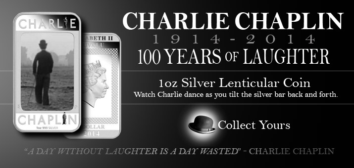 2014 P Tuvalu Silver Charlie Chaplin 100 Years of Laughter 1oz Lenticular PF Bar in OGP