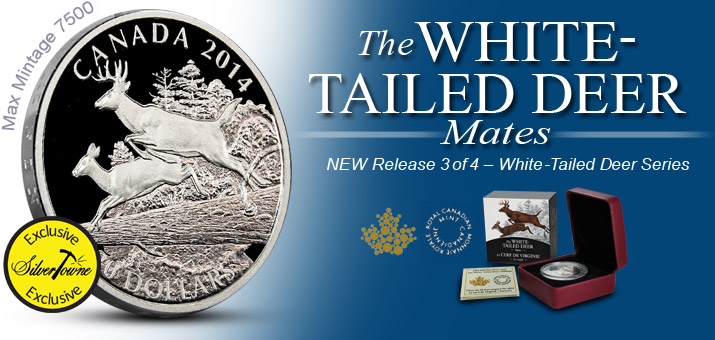 2014 Canada Silver White-Tailed Deer Mates 1oz Proof