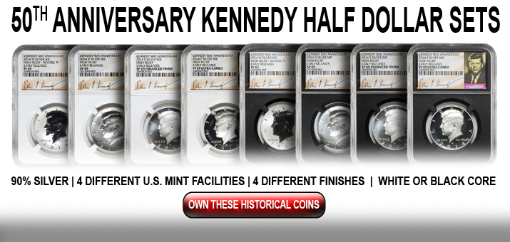 2014 50th Anniversary Kennedy Half Dollar Coins