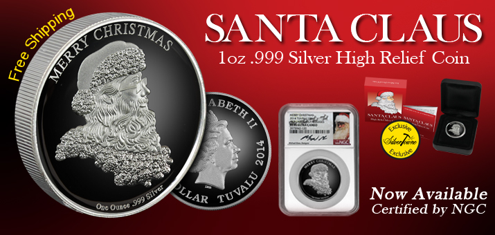 2014 Santa Claus Silver 1oz HR Proof Coins Now Shipping!