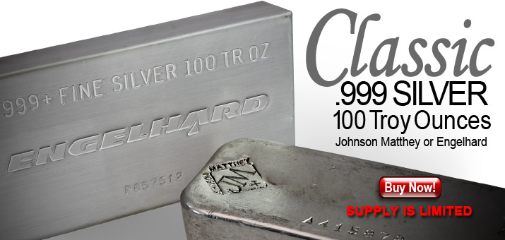 Johnson Matthey & Englehard 100oz .999 Silver Bars