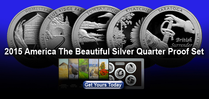2015 S 5pc Silver America The Beautiful Quarter Proof Set