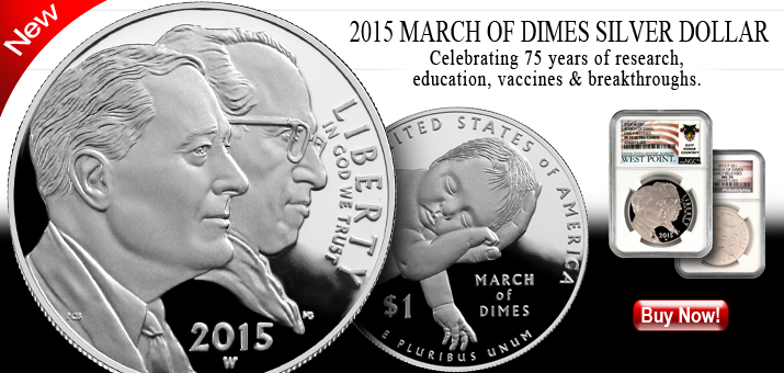 2015 March of Dimes Silver Dollars
