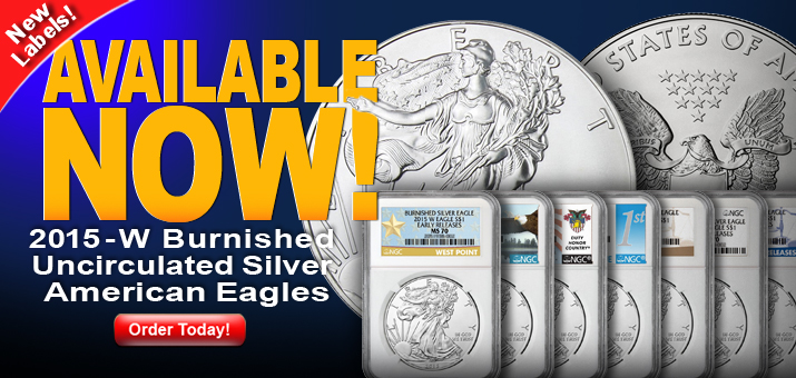 2015 W Burnished Silver American Eagles - New ER Labels Available