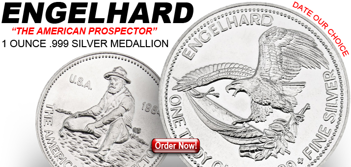 Englehard 1oz Silver Medallions Date Our Choice - Free Shipping!