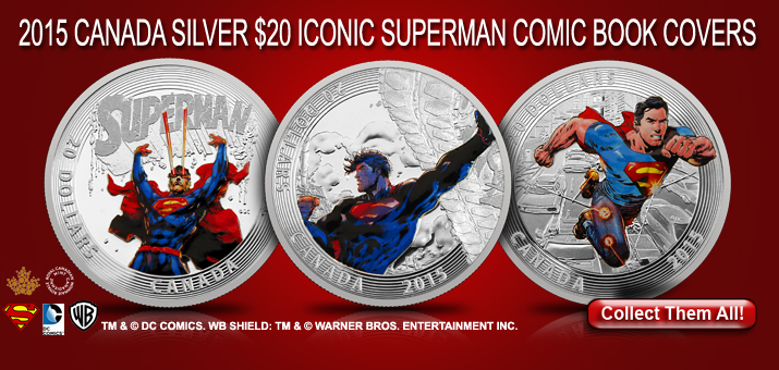 2015 Iconic Superman™ Comic Book Covers Silver Coins