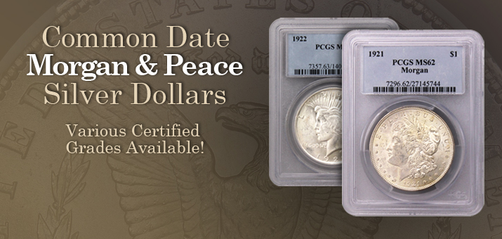 Common Data Morgan and Peace Silver Dollars Certified PCGS