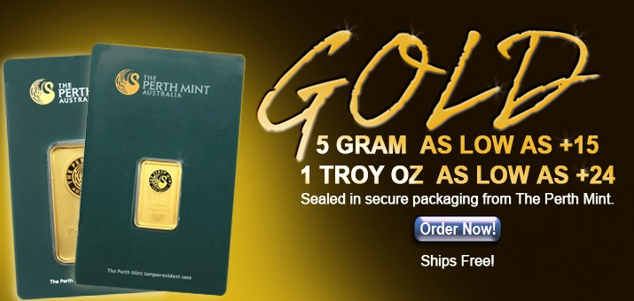 Lower Over Spot Premiums on Perth Mint Gold Bars 5 Gram and 1 Ounce