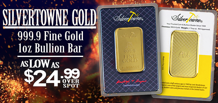 NEW SilverTowne Branded 1oz 999.9 Fine Gold Bars