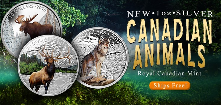 New 2015 Canada Animal 1oz Silver Proofs