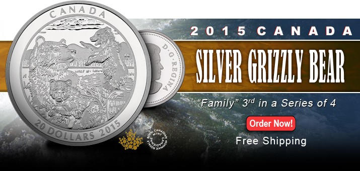 2015 Canada Grizzly Bear Series - Family - Third Release in a Series of Four