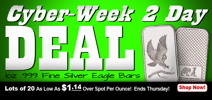 Cyber-Week 2-Day Deal 1oz SilverTowne Trademark Eagle Silver Bars as low as $1.14 in Lots of 20!