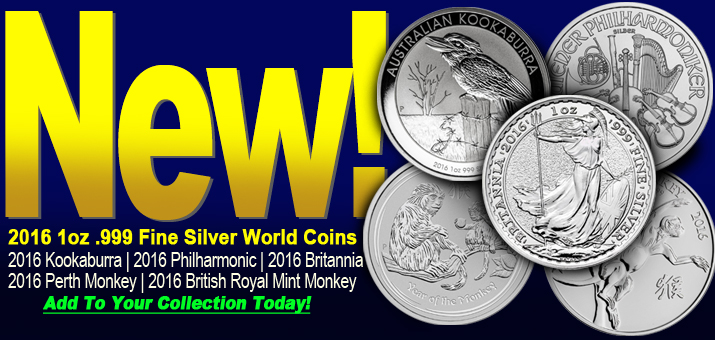 New! 2016 1oz Silver World Coins