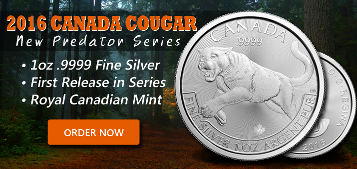 New Predator Series - 2016 Canada Silver Cougar 1oz .9999 Fine Silver - Now Available!