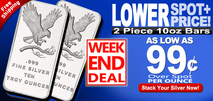 Weekend Deal - 2pc 10oz SilverTowne Trademark Bars As Low As 99 Cents Over Spot Per Ounce!