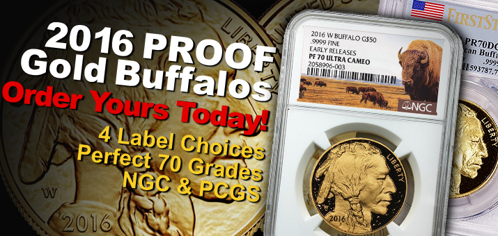 2016 Certified Perfect 70 Proof Gold Buffalos!
