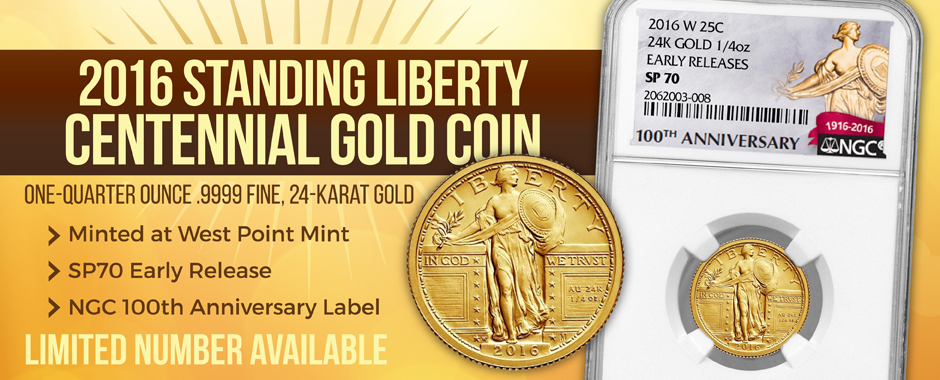 New Quarter Ounce Gold Standing Liberty Centennial Coins NGC Certified