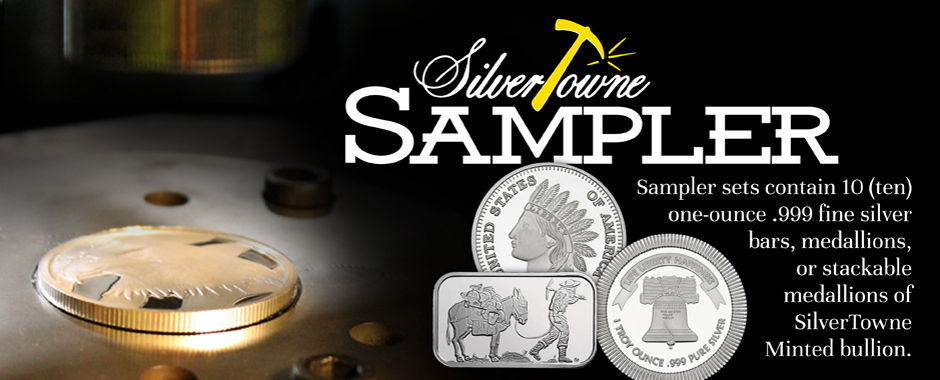 Mixed 10pc Lots of SilverTowne Minted  Silver Bullion Designs