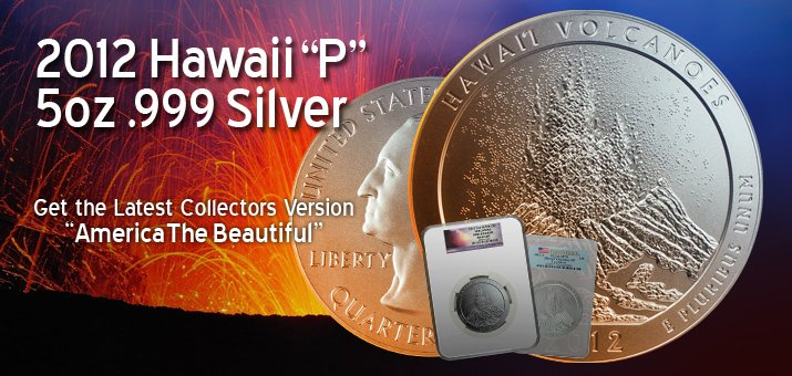 2012 America The Beautiful 5oz Silver Hawaii Volcanoes Coins