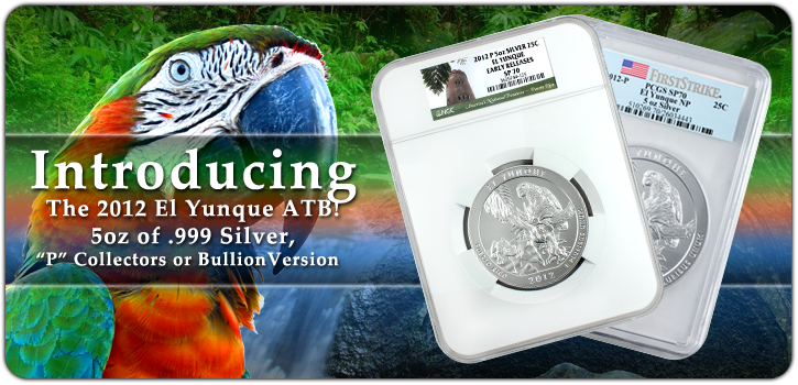 2012 America The Beautiful 5oz Silver El Yunque Coins