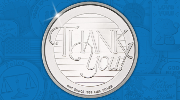 Thank You 1oz .999 Silver Medallion - December Silver Of the Month