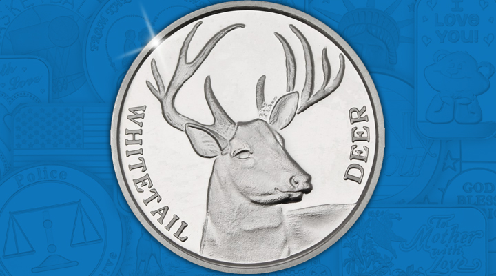 Whitetail Deer 1oz Silver Medallion - October Silver Of the Month