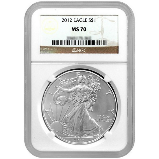 2012 Silver American Eagle MS70 NGC Brown Label
