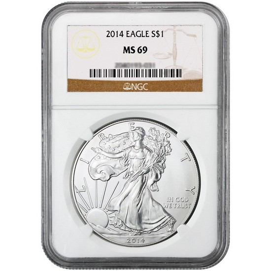 2014 Silver American Eagle MS69 NGC Brown Label