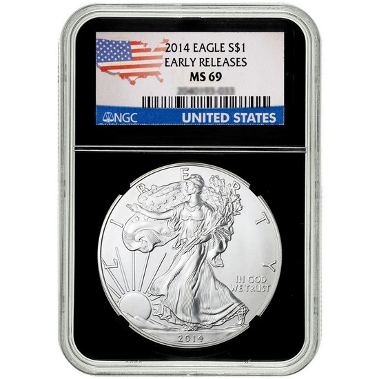 2014 Silver American Eagle Black Core MS69 ER NGC Country Label