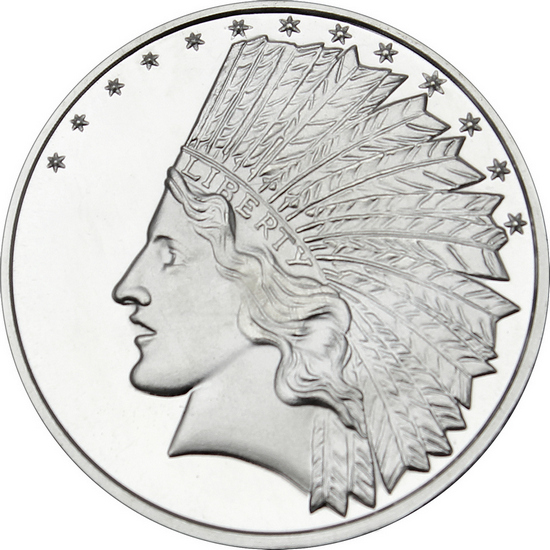 SilverTowne Trademark $10 Gold Indian Replica 1oz Struck in .999 Silver Medallion