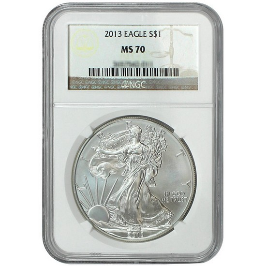 2013 Silver American Eagle MS70 NGC Brown Label