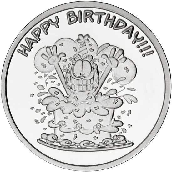 Garfield Happy Birthday 1oz .999 Silver Medallion