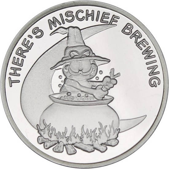 Garfield There's Mischief Brewing 1oz .999 Silver Medallion