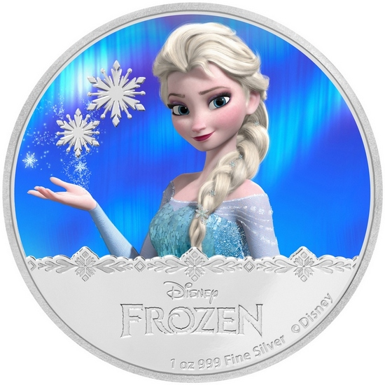 2016 Niue Silver Disney Frozen - Magic of Northern Lights: Elsa 1oz Colorized Proof in OGP